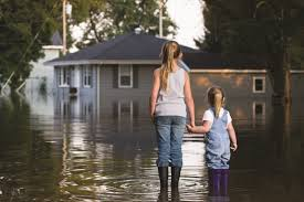 two girls in a flood